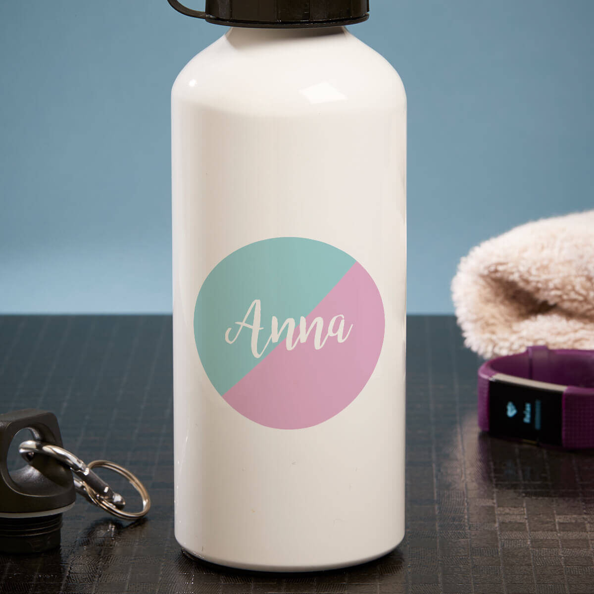 personalised split circle white water bottle