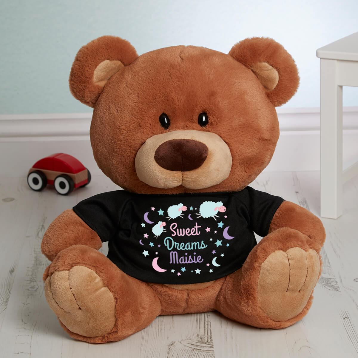personalised 'Sweet Dreams' Caramel Charlie Teddy Bear