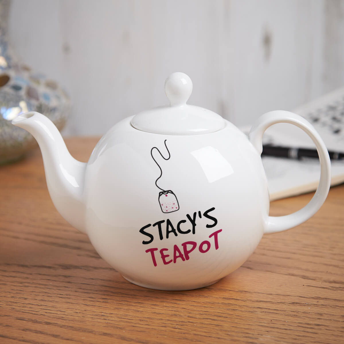 personalised Teabag Teapot Pot Belly Teapot