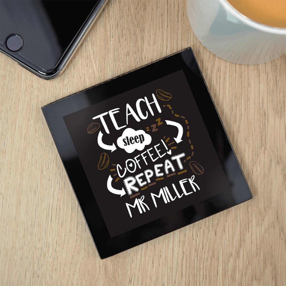 personalised Good Mums Black Glass Coaster