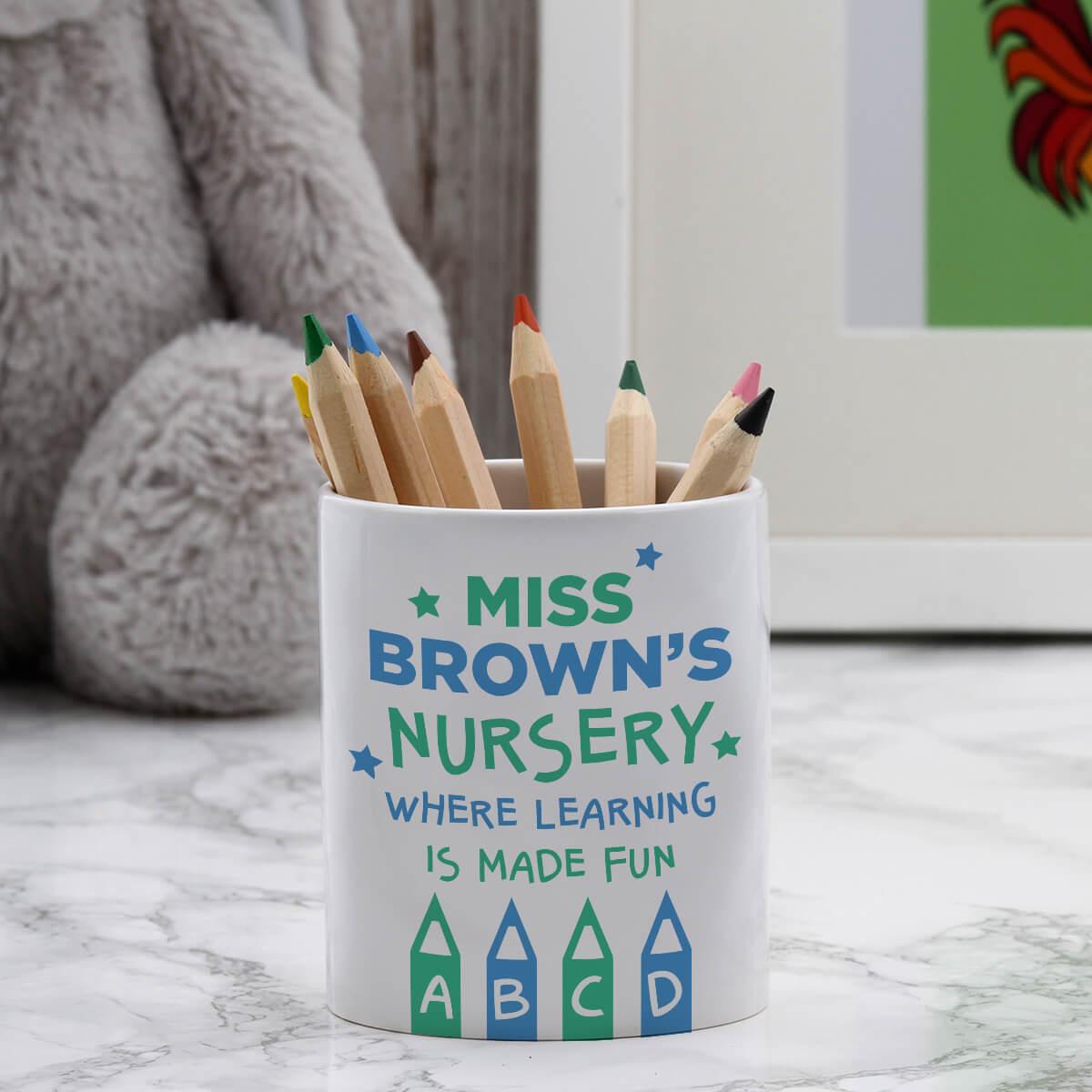 personalised Teacher's Name Nursery Pen Pot