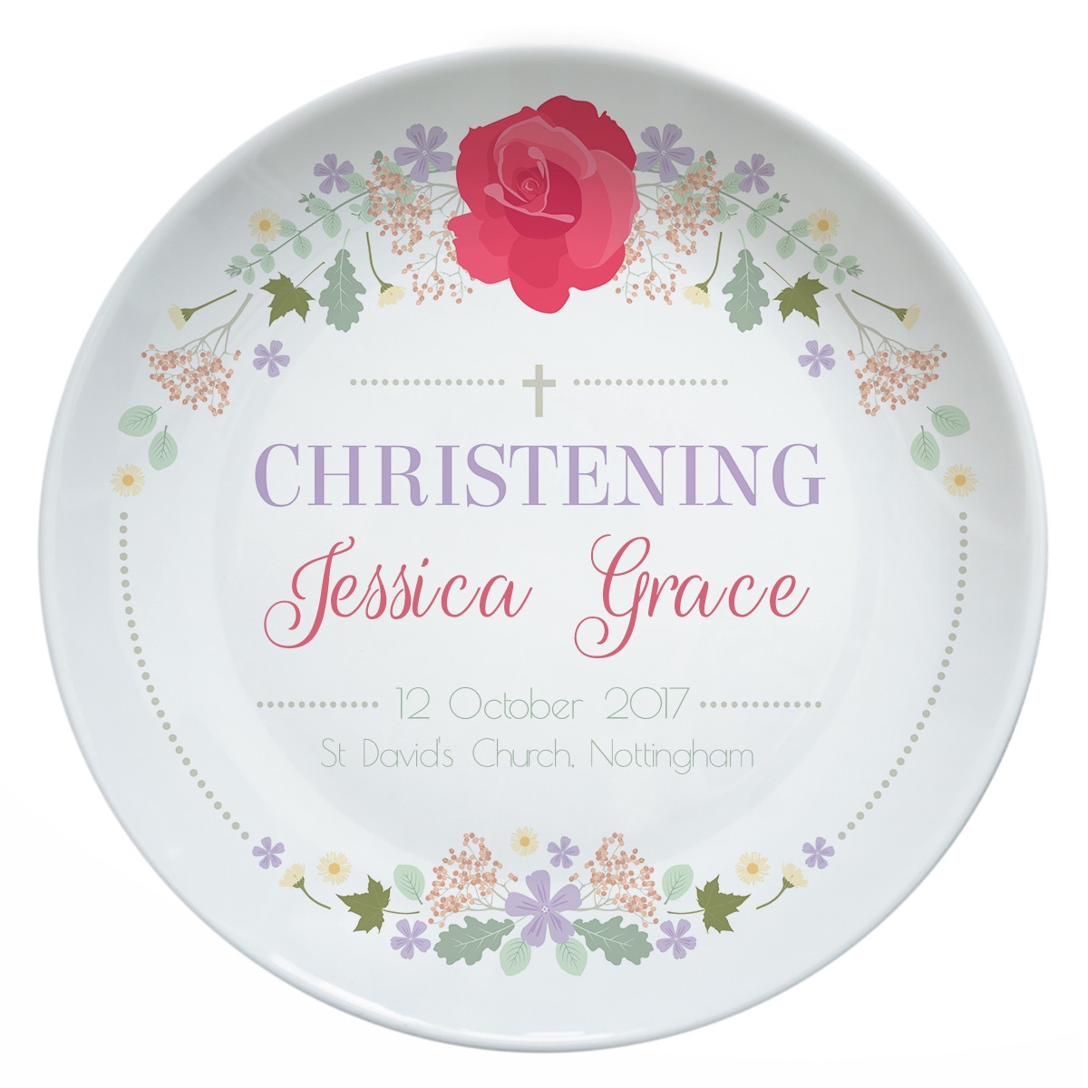 personalised Rose Christening Plate