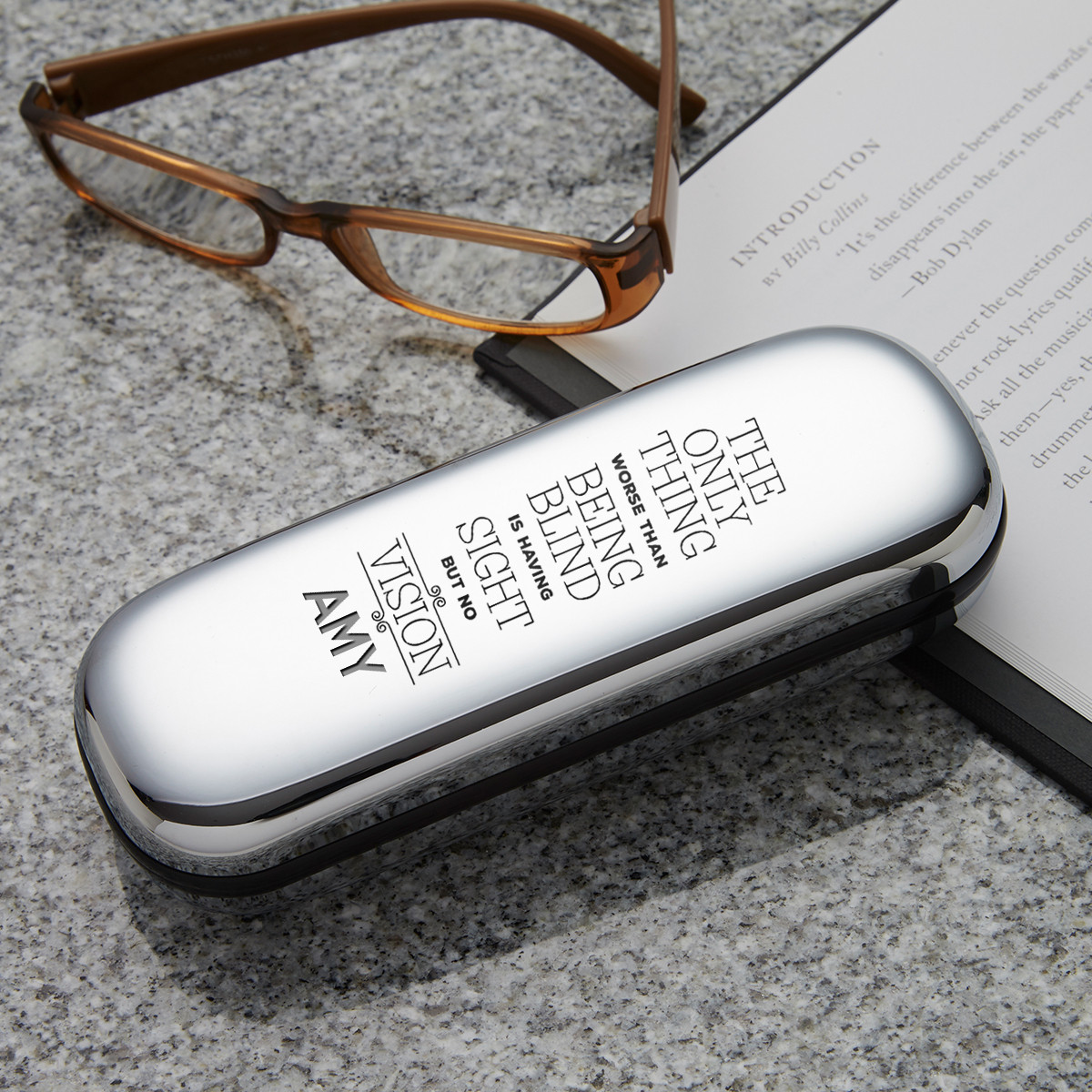 personalised Sight But No Vision Glasses Case