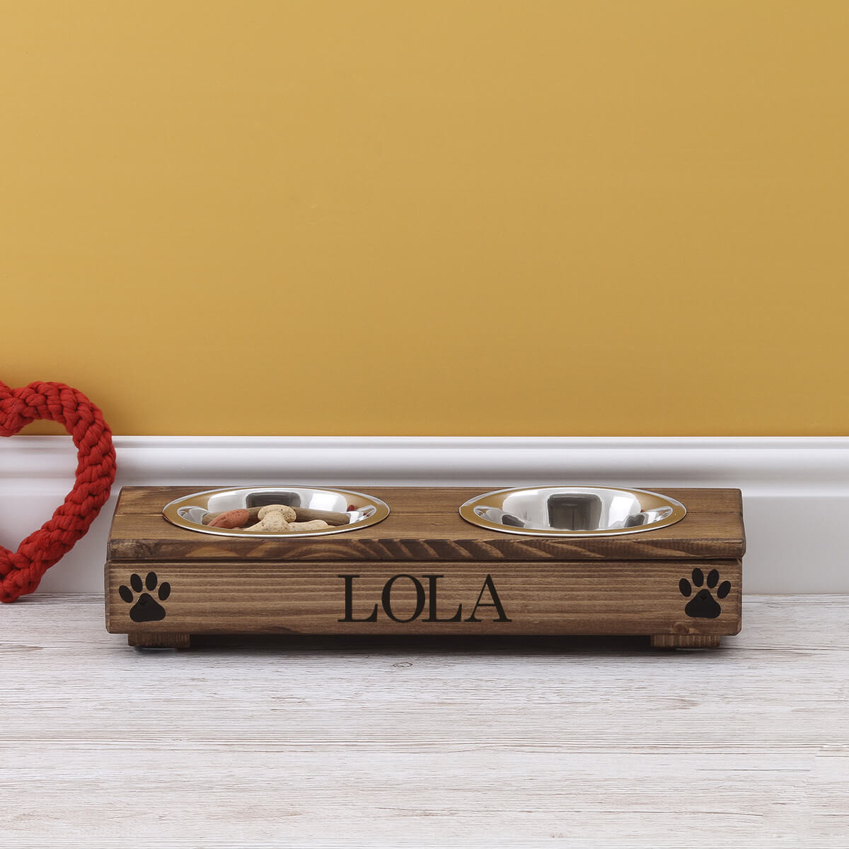 personalised XS Brown Double Feeding Bowl