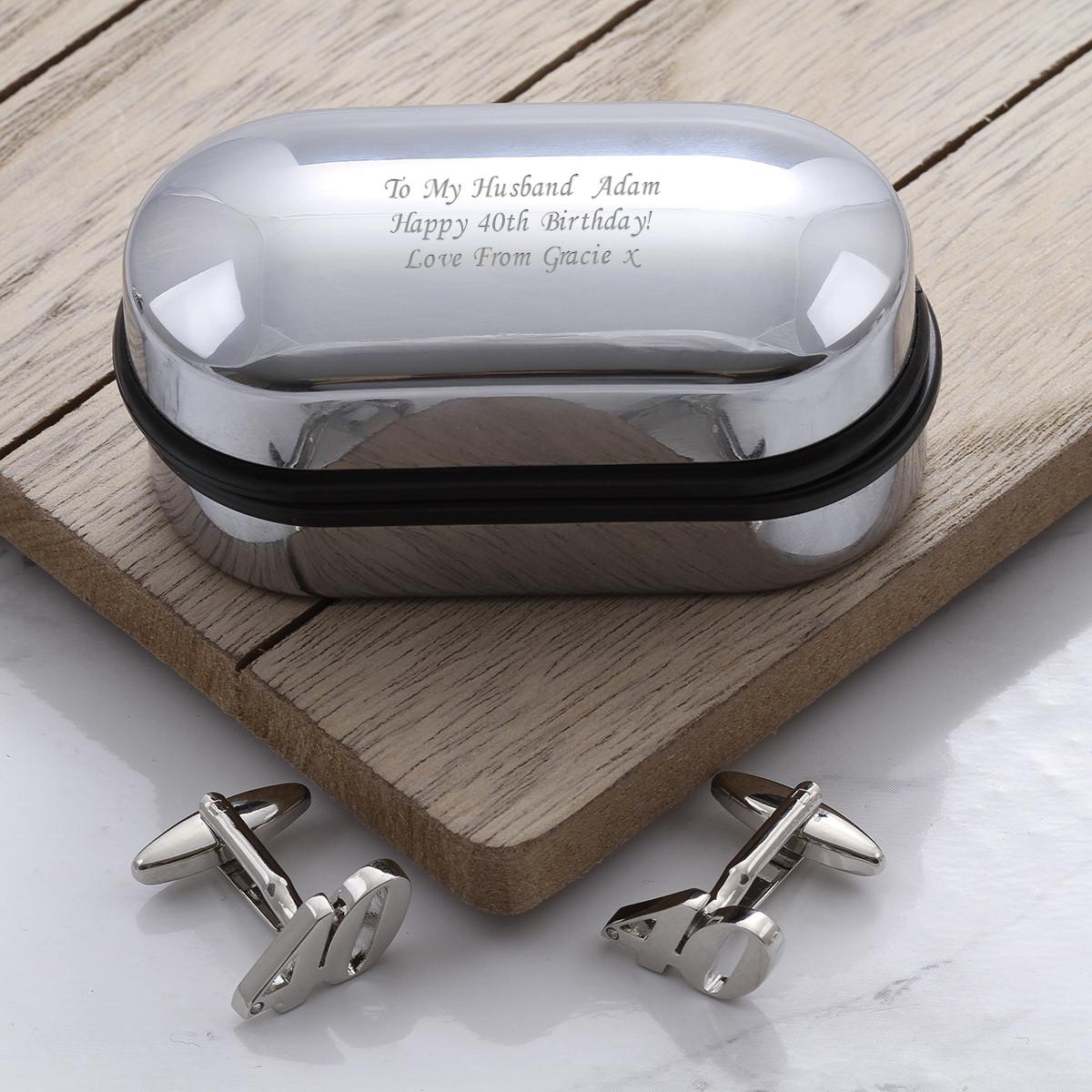 personalised Rhodium Plated 40 Cufflinks Gift Set