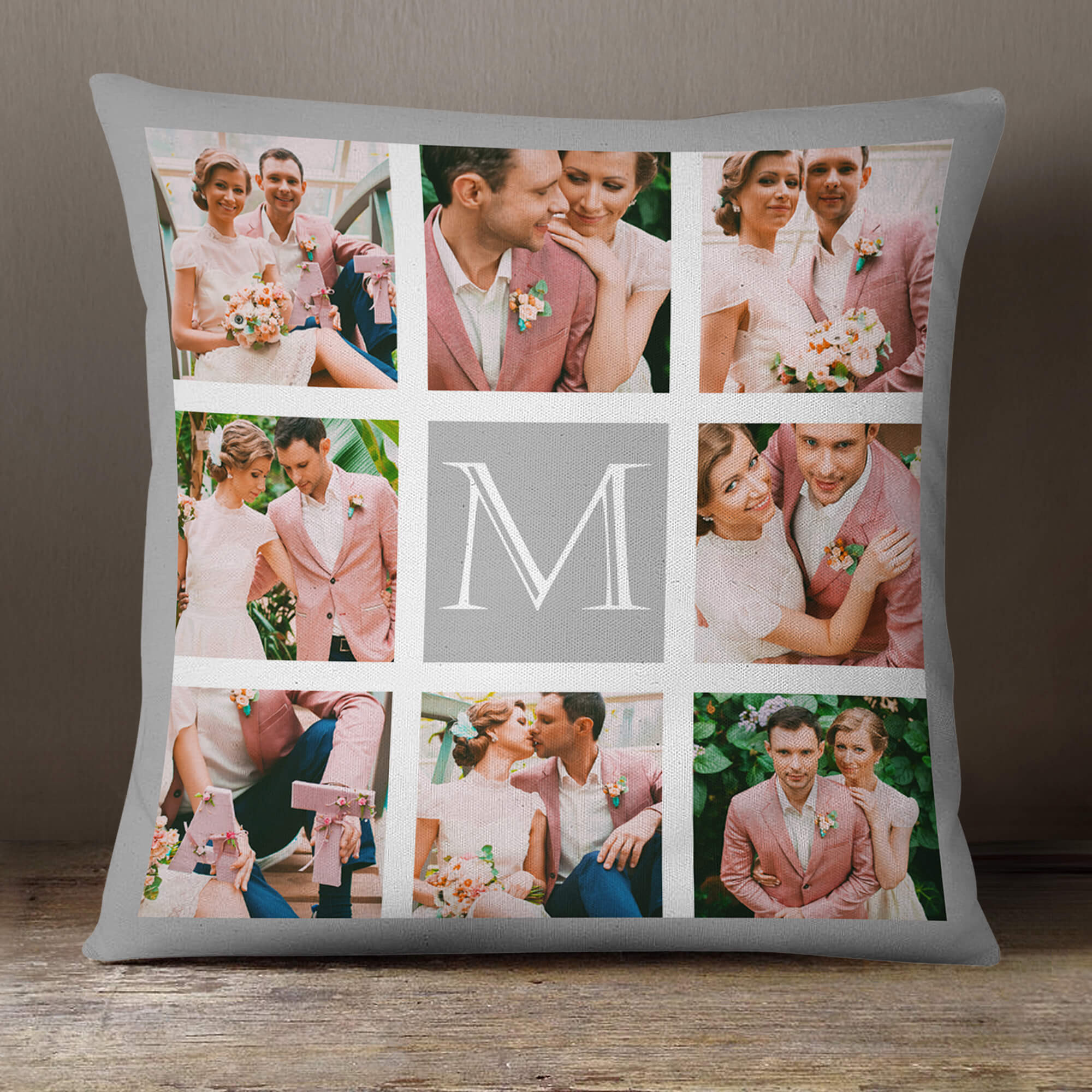 personalised Monogram Silver Border Collage Cushion (White) 18x18""