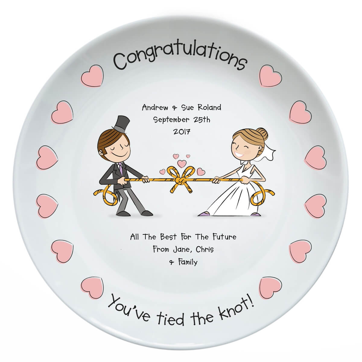 Personalised Tied The Knot Wedding Plate