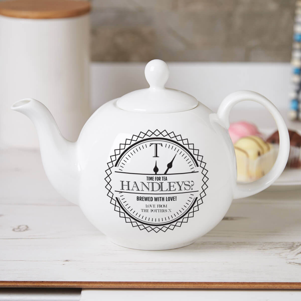 personalised Time for Tea Pot Belly Teapot