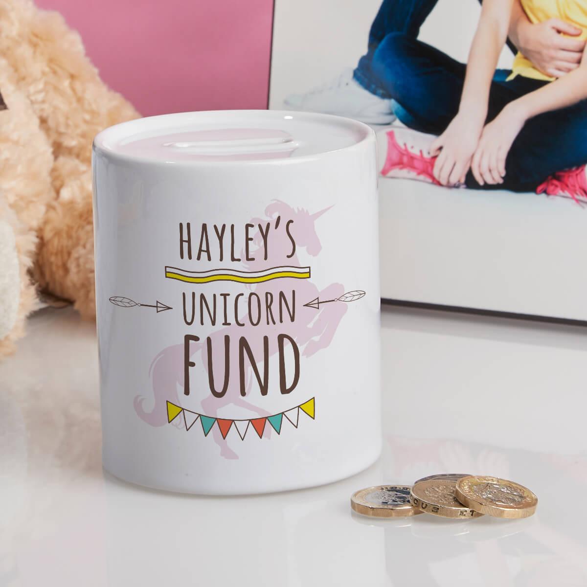 personalised Unicorn Fund Personalised Money Box