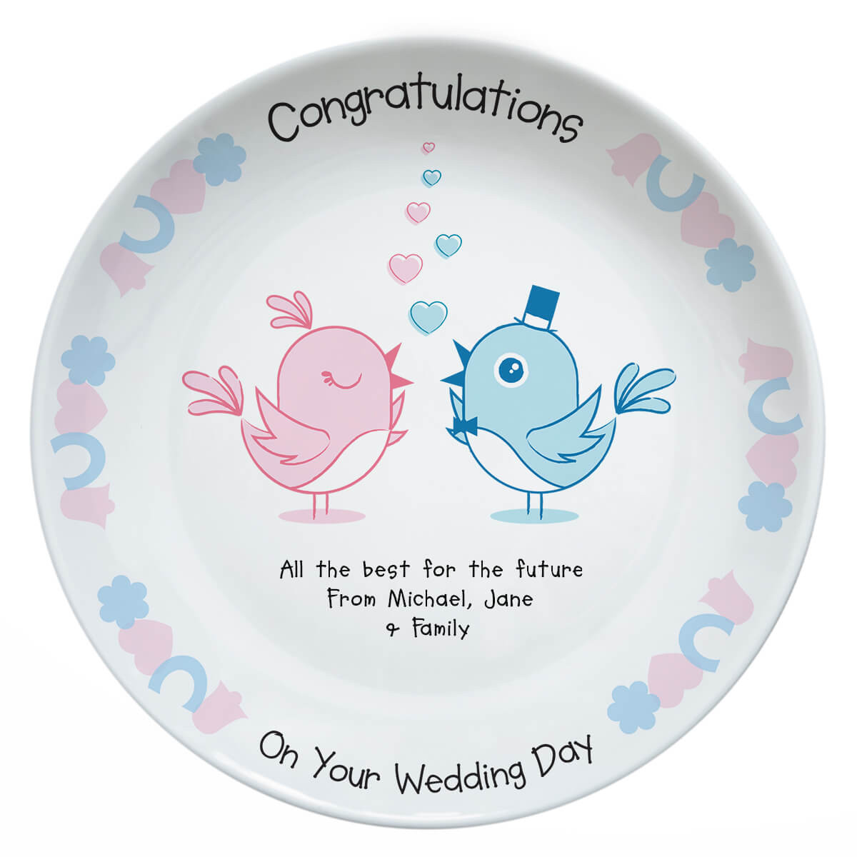 personalised Wedding Birds Plate