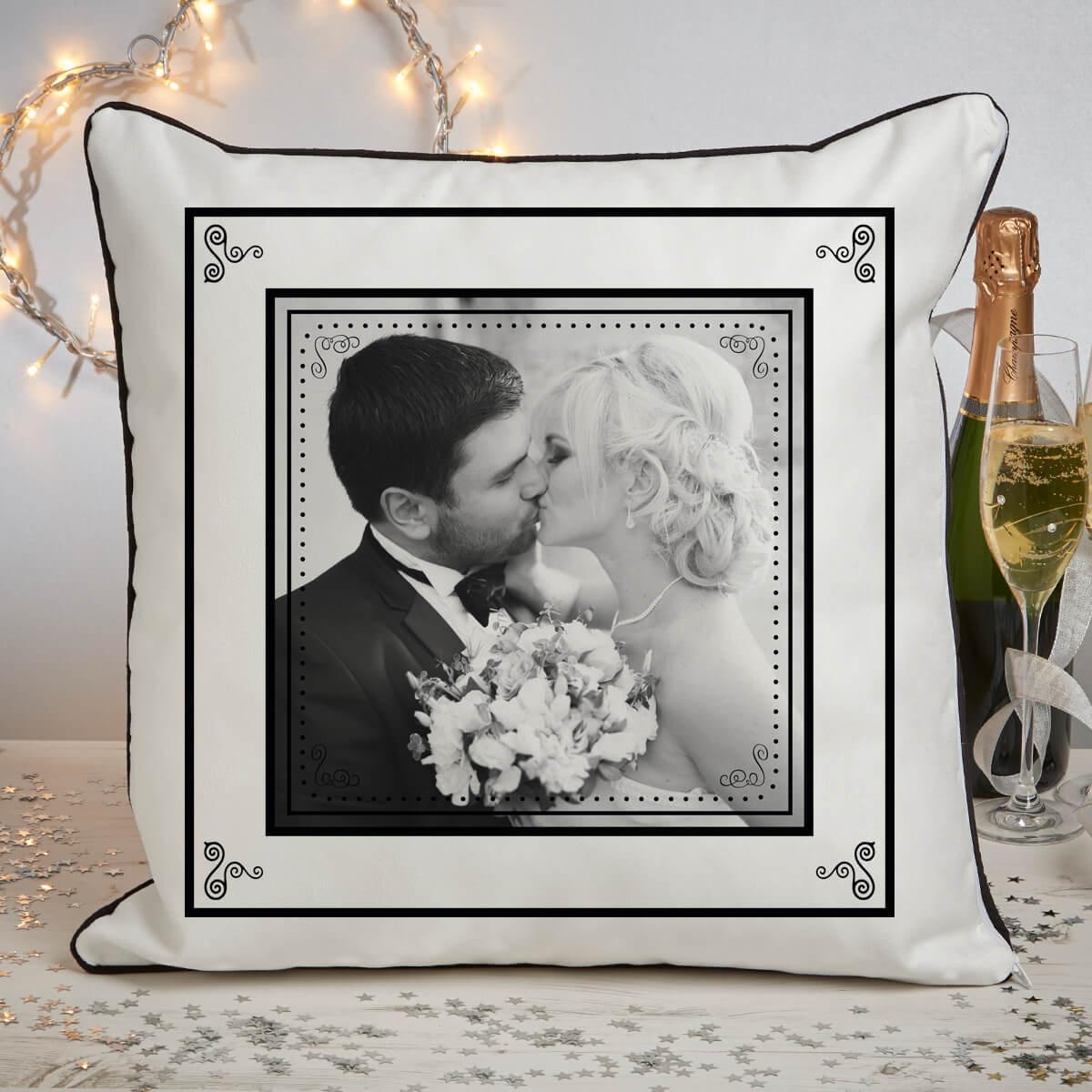 personalised Wedding Piped Photo Cushion