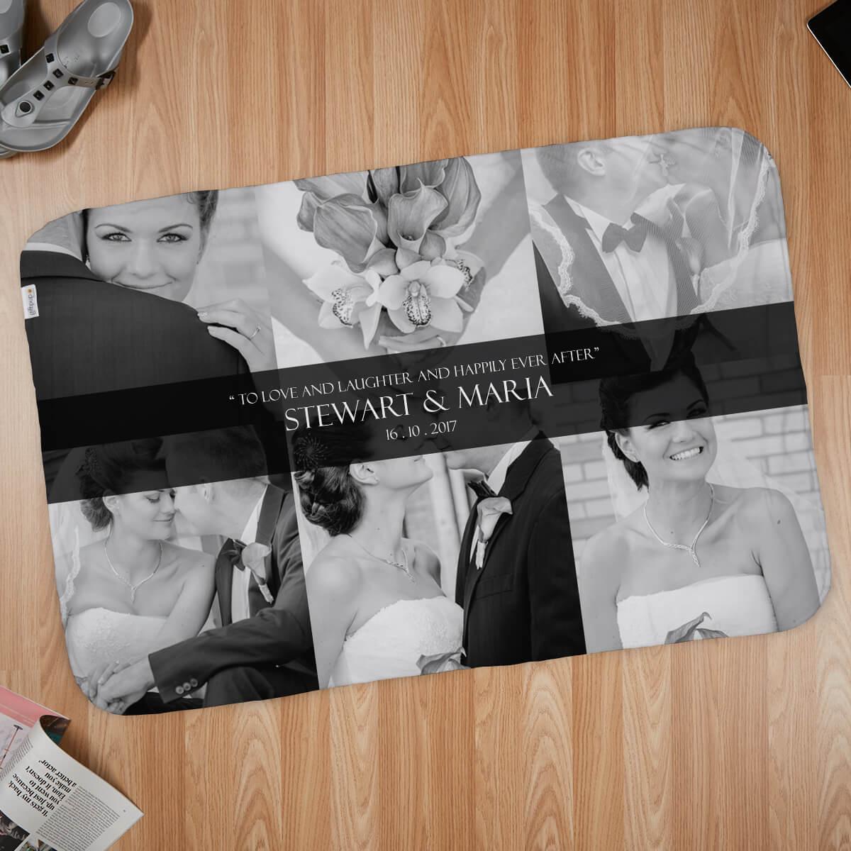 Wedding 6 Photo Collage Blanket