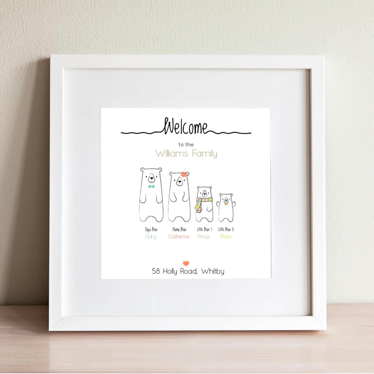 personalised Bear Family Wall Art