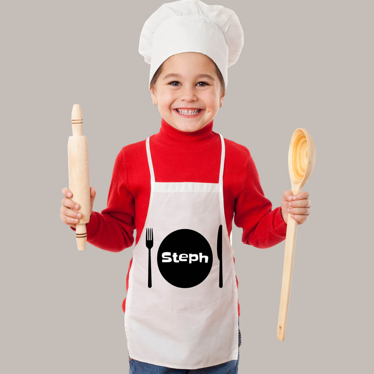 Personalised Kids White Plate Apron