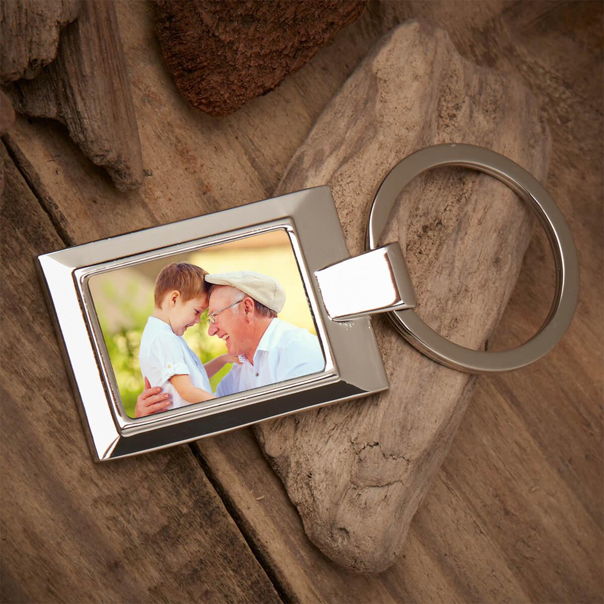 Personalised Grandad Photo Upload Metal Keyring