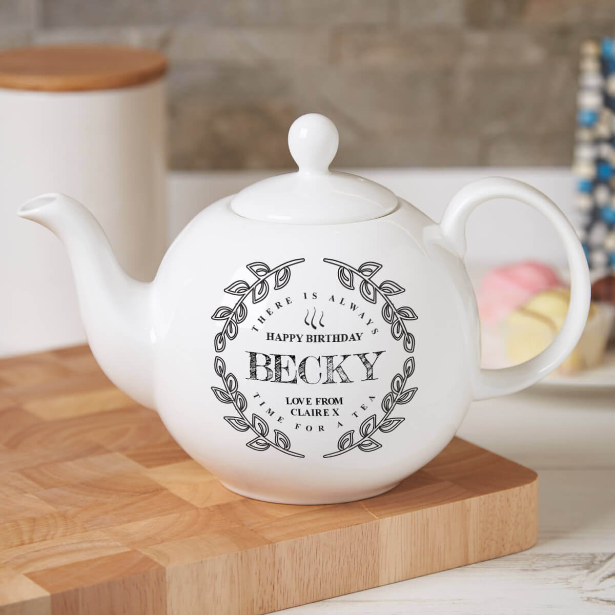 personalised 'Wreath' Pot Belly Teapot