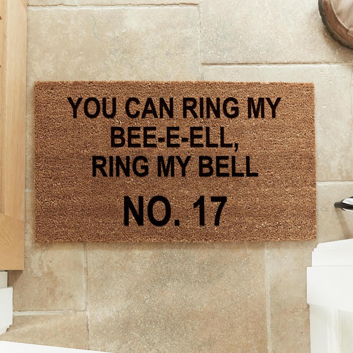 personalised Ring My Bell Coir Doormat