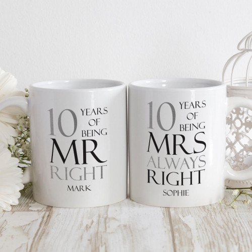 personalised mr and mrs right double mug