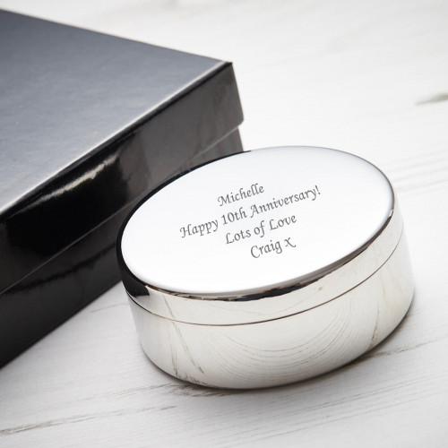 personalised 10th Anniversary Round Trinket Box