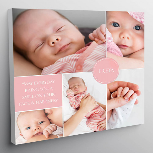 "personalised 12x12"" New Baby Collage Canvas Boy / Girl"
