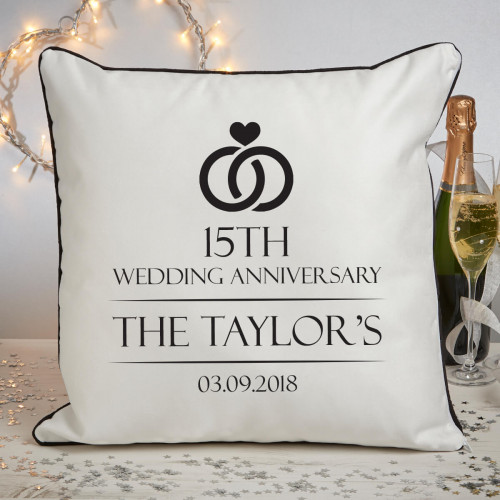 Personalised 15th anniversary piped cushion