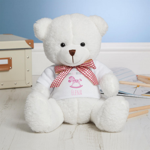 Personalised 1st Birthday Rocking Horse White Millie Bear