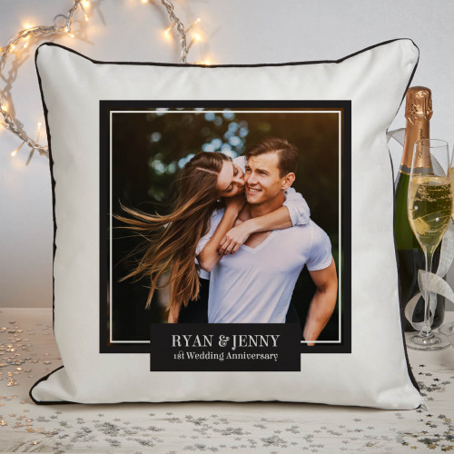 personalised 1st anniversary photo cushion