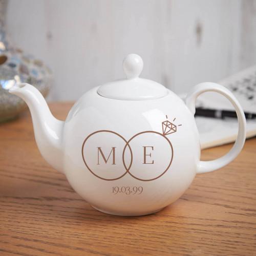 personalised wedding ring teapot