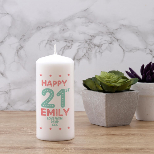 personalised 21st birthday candle