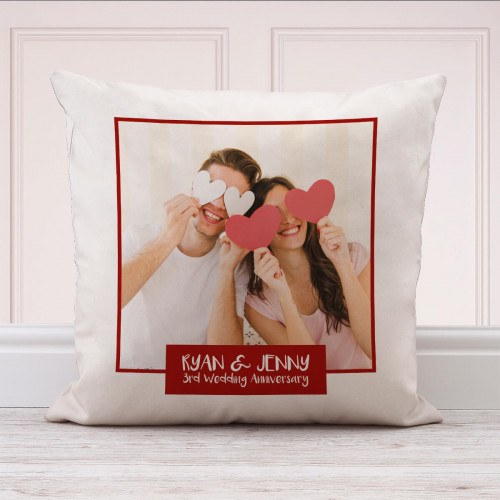 personalised 3rd Wedding Anniversary Photo Cushion