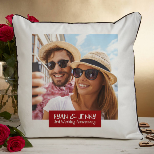 personalised 3rd anniversary photo cushion