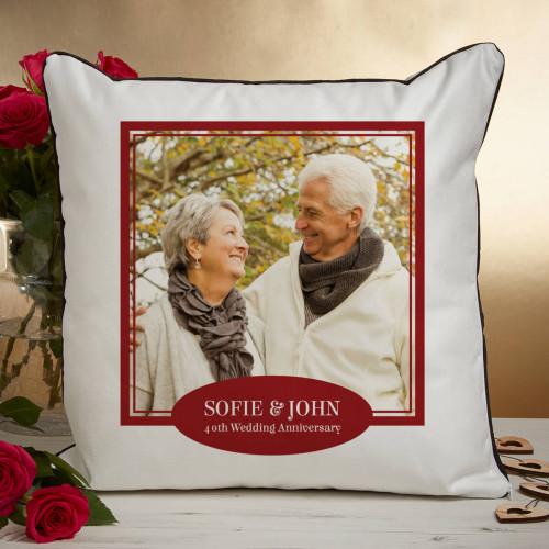personalised 40th anniversary photo cushion