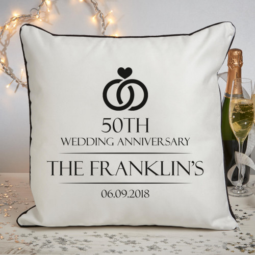 Personalised 50th anniversary piped cushion