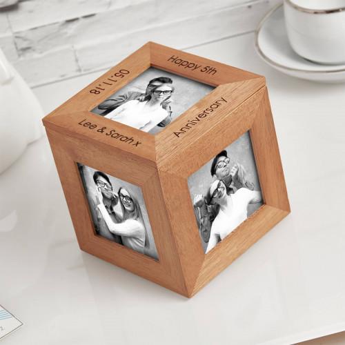 Anniversary wood photo cube