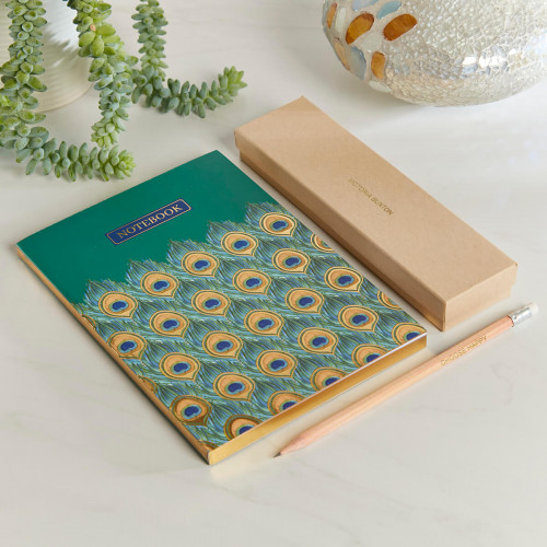 personalised Large Peacock Notebook Gift Set