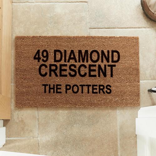 personalised address coir doormat