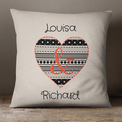 personalised Patchwork Loveheart Cotton Cushion