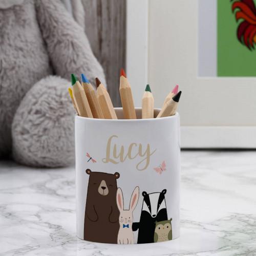 personalised animal pen pot