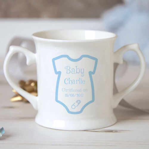 Personalised Baby Boy Babygro Christening Mug