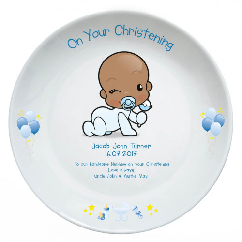 Personalised Baby Boy Christening Plate
