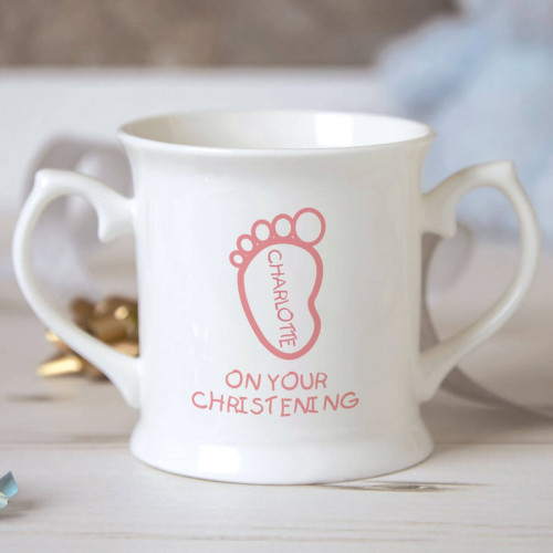 Personalised Baby Girl Footprint Christening Mug