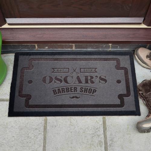 personalised Barbershop Doormat