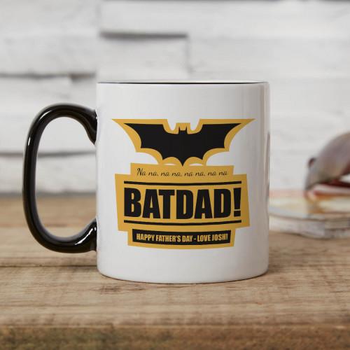 personalised Batdad Two Tone Mug Black