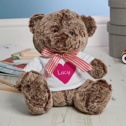 Personalised Big Heart Brown Fluffy Teddy Bear