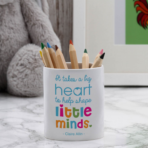 personalised big hearts little minds pen pot
