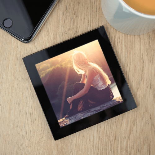 Personalised Glass Photo Coaster (Black)
