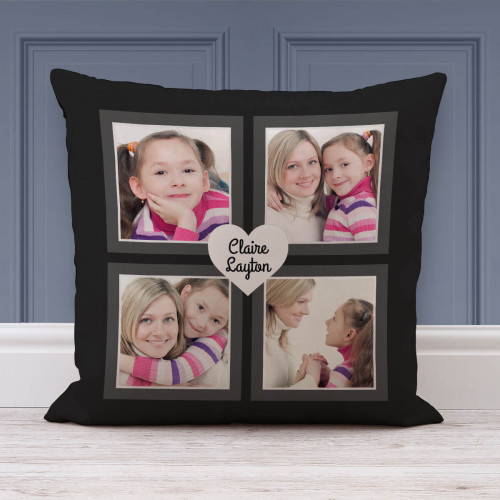 """personalised Black Heart Design Collage Cushion 18x18"""""""