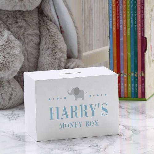 personalised Baby Boys Elephant Wooden Money Box