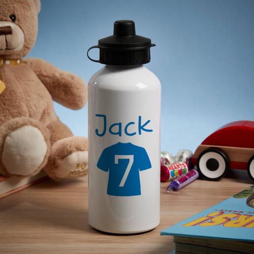 Personalised Blue Football Shirt White Water Bottle