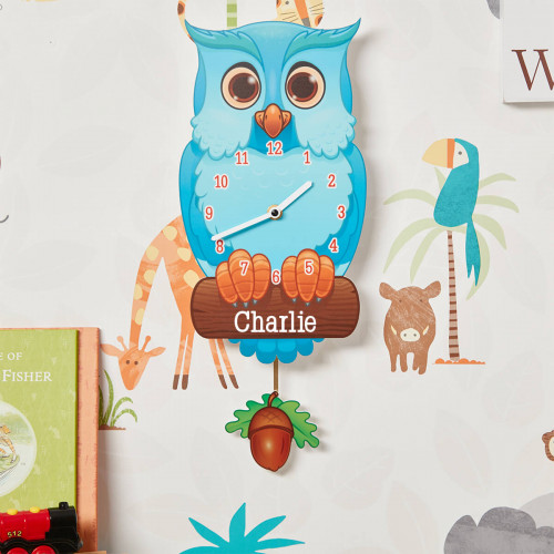 personalised Blue Owl Pendulum Clock